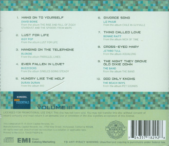 Borders Rock Essentials Volume III back cover