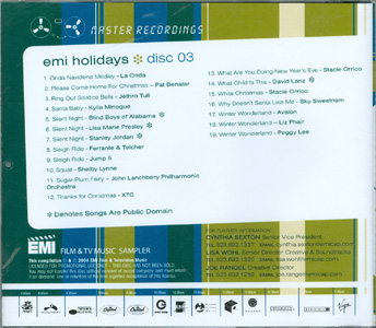 EMI Holidays Disc 03 back cover