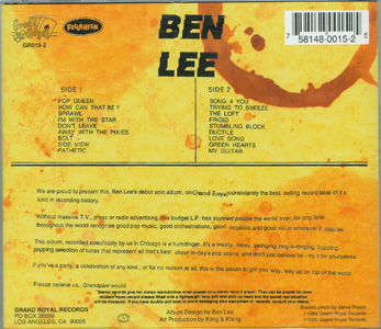 Grandpaw Would - Ben Lee back cover