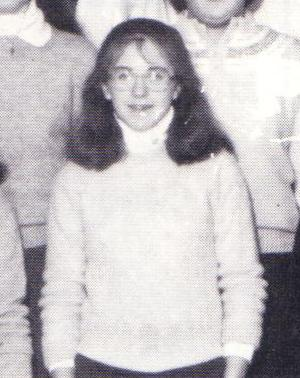 Liz's high school sophomore yearbook photo (closeup), 1983