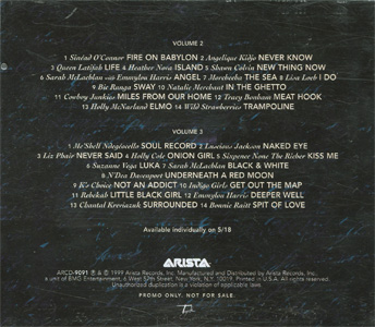 Lilith Fair - A Celebration of Women in Music Volume 2 & Volume 3 Advance Double CD back cover