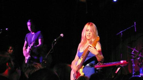 Liz Phair and guitarist Greg Suran at the Hiro Ballroom, New York, June 25th, 2008, photographed by Trent Vanegas