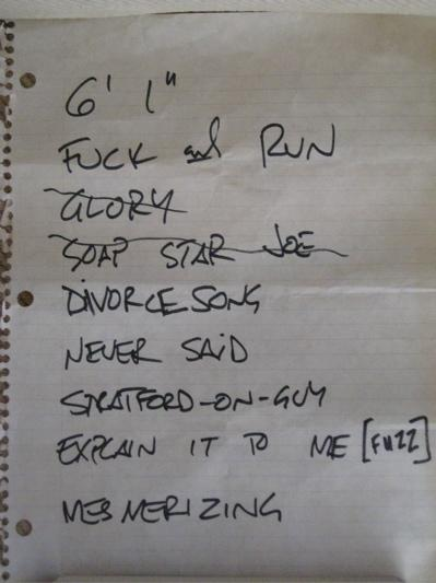 setlist from Irving Plaza, July 23, 1993