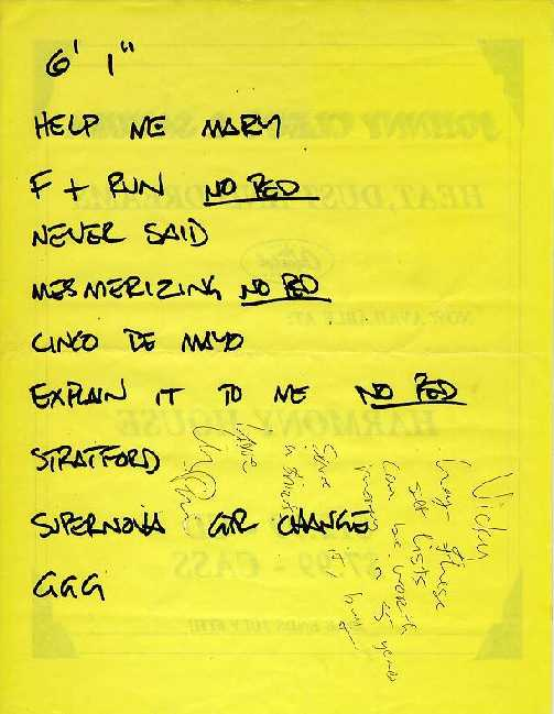 Liz setlist from 1993 with writing