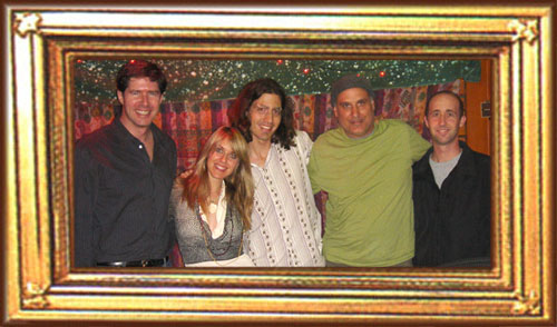 Producer John Alagia, Liz Phair, Guitarist Dino Meneghin, Engineer Brian Scheuble, Assistant Engineer Jeff Robinette at Village Recording Studios in Los Angeles, CA