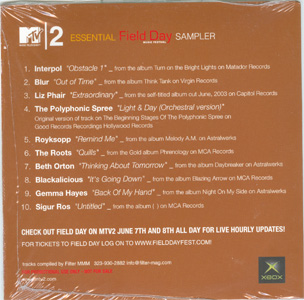 MTV2 Essential Field Day Music Festival Sampler back cover
