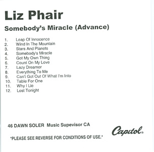 Somebody's Miracle (Advance) tracklisting