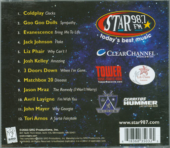 Star Lounge - Star 98.7 FM 2003 Collection back cover